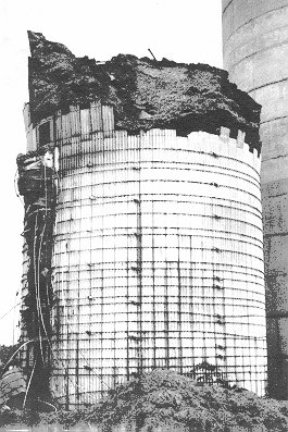 Fire Damaged Stave Silo.