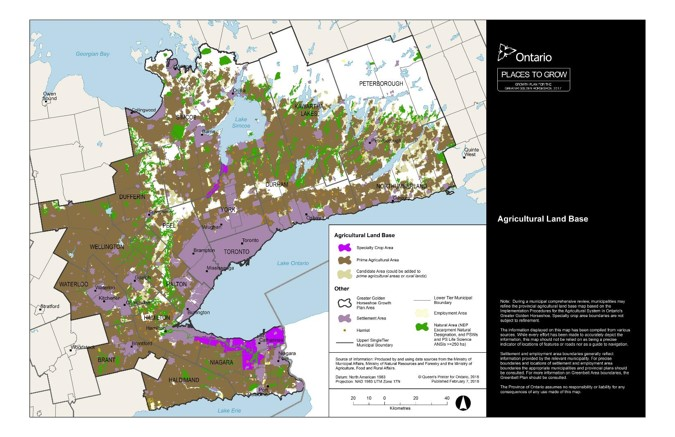 This figure shows the Draft Agricultural Land Base mapping for the area of the Greater Golden Horseshoe. Settlement areas are also shown on the map.