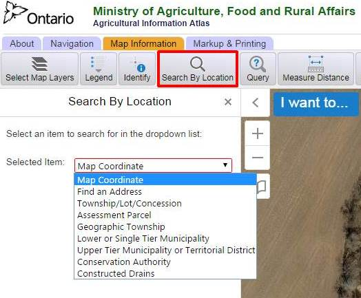 Image showing how to use the Search by Location button.