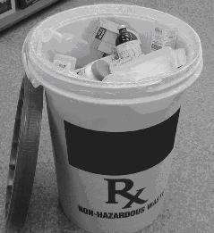 "Picture of a medicines container labelled ""Non-Hazardous Waste""."