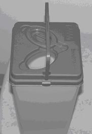 Picture of a sharps container.