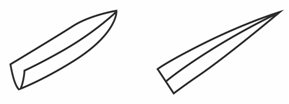 "The illustration shows the tip of the blade in a ""boat-shaped"" and the second illustration  is tapered with the point sharp at the tip."