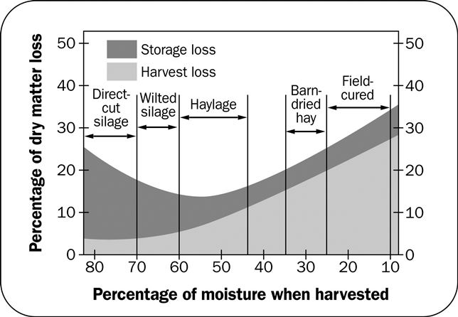 Figure 2: graph comparing percentage moisture when hay is harvested and the percentage of dry matter loss showing that hay is subject to the greatest dry matter losses.
