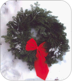 Figure 4 is a photo of a yew wreath.