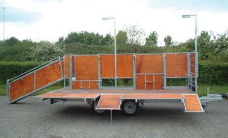 Photo of a mobile shearing trailer