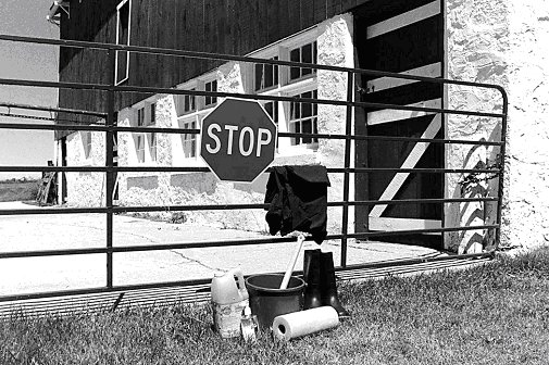 Figure 1 - Restrict access to livestock facilities. Visitors should wear protective clothing and follow strict cleaning and disinfection protocols.